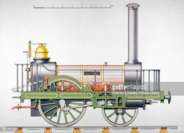 Coloured drawing showing the Dublin Kingstown Railway locomotive 'Vauxhall' In 1831 an Act of Parliament was passed enabling the formation of a...
