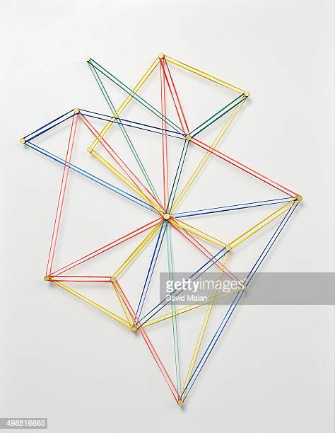 Coloured elastic bands forming a network