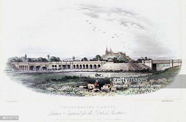 Coloured engraving by A Ashley after a drawing by Joseph Francis Burrell showing the Peterborough Viaduct and the city�s cathedral Peterborough�s...