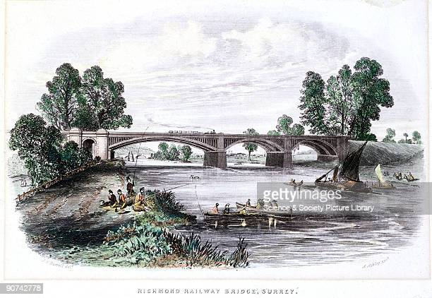 Coloured engraving by A Ashley for the British Gazetteer after an original drawing by J F Burrell showing a steam train crossing Richmond Bridge over...