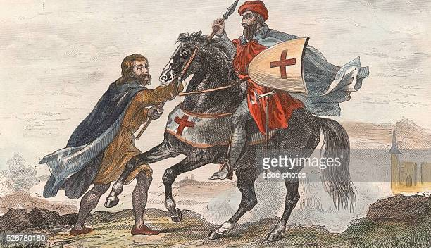 Knight templar in his war costume and his squire Reign of Louis IX In 1255 Coloured engraving
