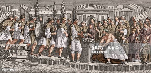 Ancient Rome Sacrifice to the Gods of the Sea Coloured engraving