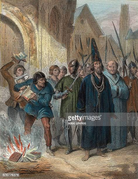 Protestant Reformation Jan Hus is driven to the stake in Constance On July 6 1415 Coloured engraving