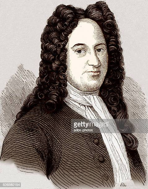 Coloured engraving depicting German philosopher, scientist, mathematician and philologist Gottfried Wilhelm Leibniz , after a portrait by Gruzmacher,...