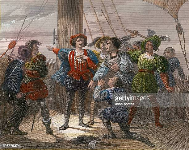 During his first travel Christopher Columbus calming the anxiety of his crew In September 1492 Coloured engraving