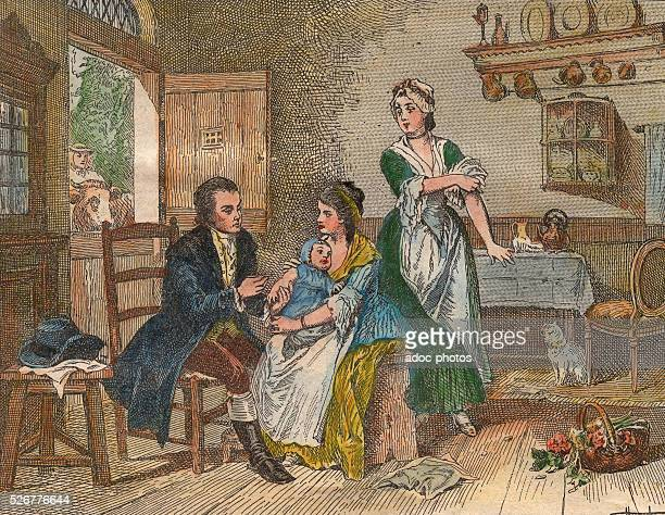 Coloured engraving depicting James Phipps becoming the first person to receive the cowpox vaccine from British physician Edward Jenner in Berkeley...