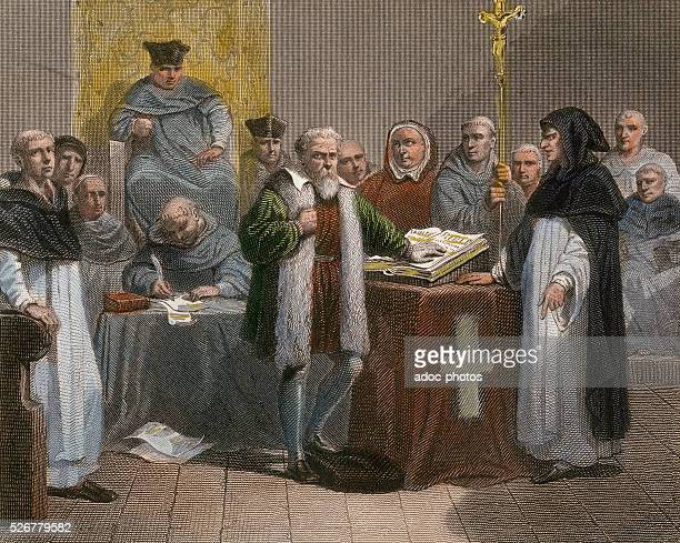 The retractation of Galileo Galilei in front of the court of the Roman Catholic Inquisition at the Dominican convent of SantaMaria in Rome On June 22...