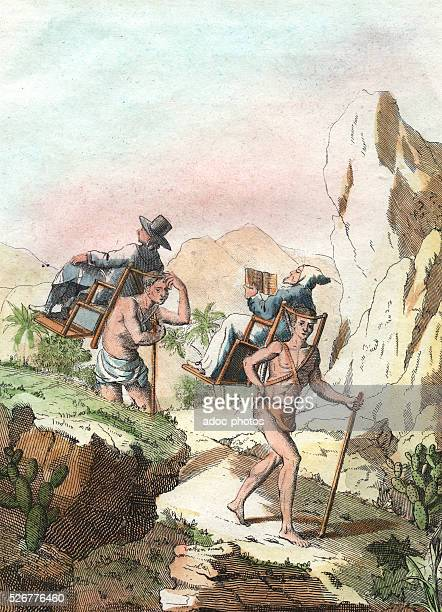Mexican carriers Coloured engraving