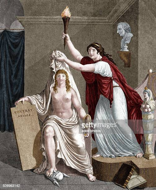 'Philosophy discovering the truth' Allegorical scene Engraving of the 18th century Coloured engraving
