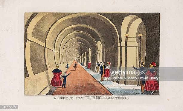 Coloured engraving showing people walking through the tunnel under the Thames Sir Marc Isambard Brunel engineer and inventor was at the forefront of...