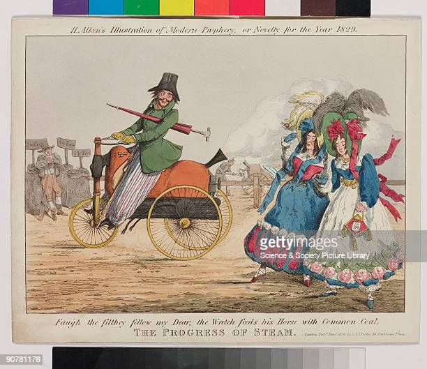 Coloured etching by Henry Thomas Alken, published by S & J Fuller of London, satirising steam-powered transport. It shows a dandified gentleman...