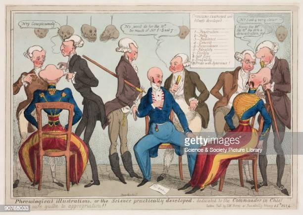 Coloured etching by Marks published by S W Fores of 41 Piccadilly London showing two military gentlemen being examined by a large group of...