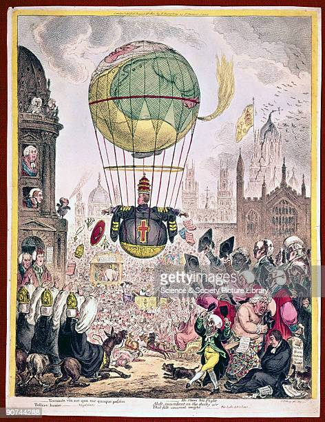 Coloured etching 'He Steers his Flight Aloft incumbent on the dusky air that felt unusual weight' by James Gillray A satire on the church showing a...