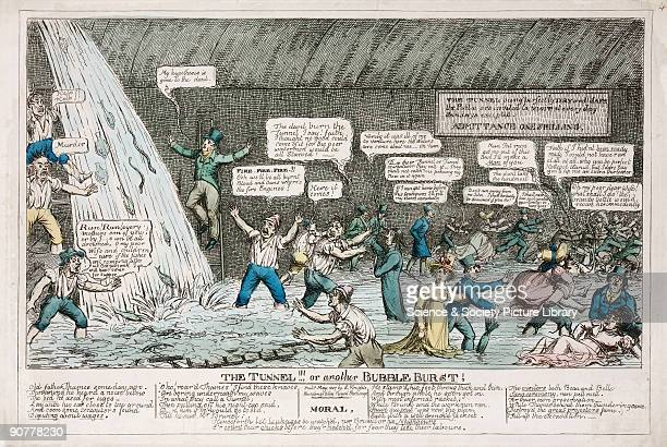 Coloured etching showing people in a tunnel becoming flooded with water a satire on the hazards of using Brunel�s proposed Thames Tunnel Sir Marc...
