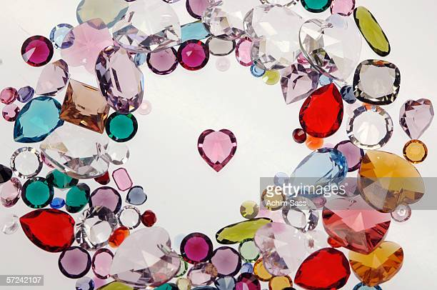 Coloured glass stones, close-up, overhead view