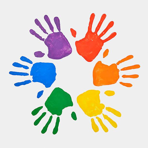 Coloured Handprints Facing Outwards Wall Art