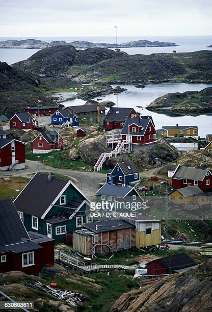 Coloured houses in Paamiut village Sermersooq Greenland