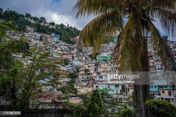 coloured houses in the caribbean - port au prince stock pictures, royalty-free photos & images