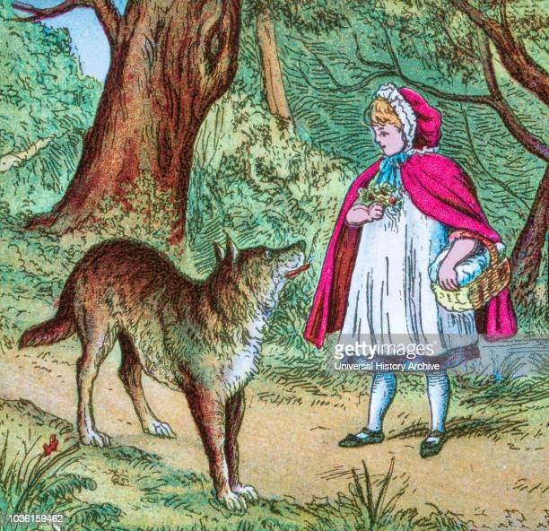 Coloured illustration in a child's storybook Little Red Riding Hood of the girl and big bad wolf where the big bad wolf meets Little Red Riding Hood...