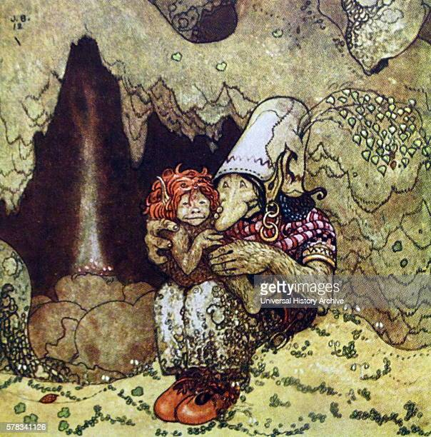 Coloured illustration of Humpe and his Mother from the Swedish Folklore and fairy tale book 'Among Gnomes and Trolls' By John Bauer a Swedish painter...
