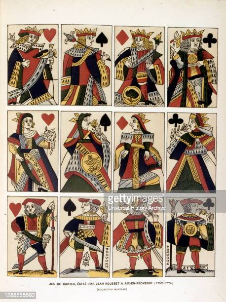 Coloured illustration of playing cards published by Jean Rousset in Aix-en-Provence ..