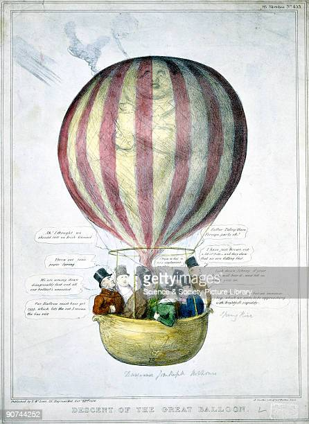 Coloured lithograph by A Ducote showing ten men travelling in a hotair balloon Speech bubbles show the men's concerns about the rapid descent of the...