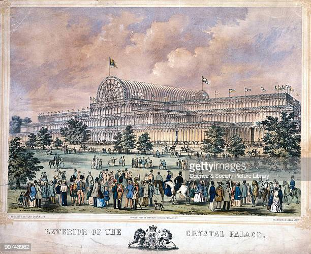 Coloured lithograph by Augustus Butler after his original drawing showing the Crystal Palace from Kensington Gardens The Crystal Palace was built to...