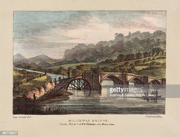 Coloured lithograph by F Calvert after an original drawing by Samuel Ireland Buildwas Bridge was a cast iron arch road bridge built over the Severn...