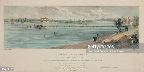 Coloured lithograph by Fred Rumble Based upon a scheme by the engineer of the Chelsea Water Works Company James Simpson the pipe was to be floated...