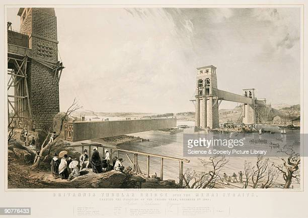 Coloured lithograph by George Hawkins showing a view of �the floating of the second tube� during the construction of the Britannia Tubular Bridge The...