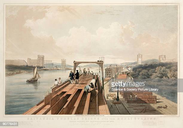 Coloured lithograph by George Hawkins , showing a view of the construction of the Britannia Tubular Bridge over the Menai Straits. The Britannia...