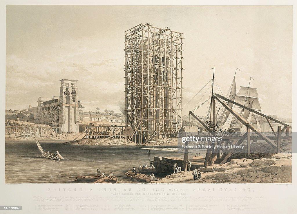 Britannia Tubular Bridge during its construction, Wales, May 1849. : Nachrichtenfoto