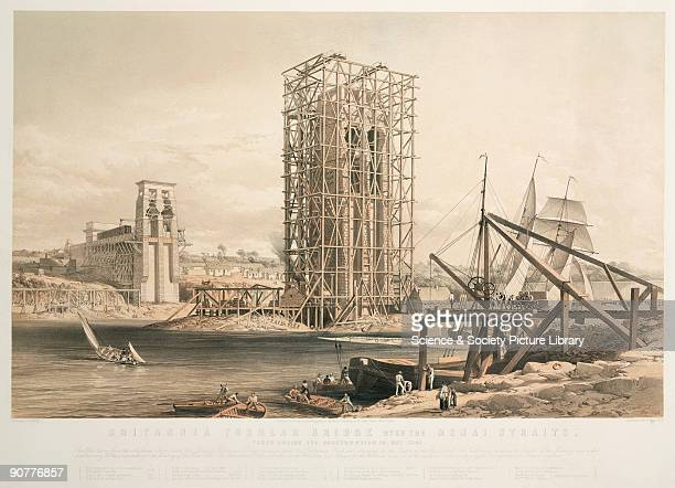 Coloured lithograph by George Hawkins showing a view of the construction of the Britannia Tubular Bridge over the Menai Straits The Britannia Tubular...