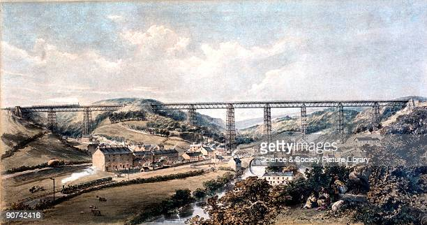 Coloured lithograph by H J Cooke of the Crumlin Viaduct on the Taff Vale Extension of the West Midland Railway Crumlin Viaduct was considered to be...