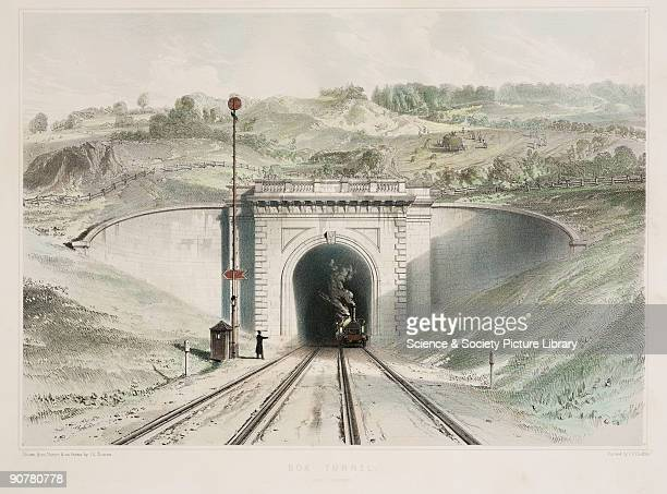 Coloured lithograph by John Cooke Bourne and printed by C F Cheffins A steam locomotive is shown emerging from the tunnel with signals to the left of...