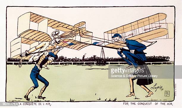 Coloured lithograph by �Lupin� printed by L Monrocq Paris showing Wilbur Wright and Alberto SantosDumont both wearing aircraft wings and jousting...