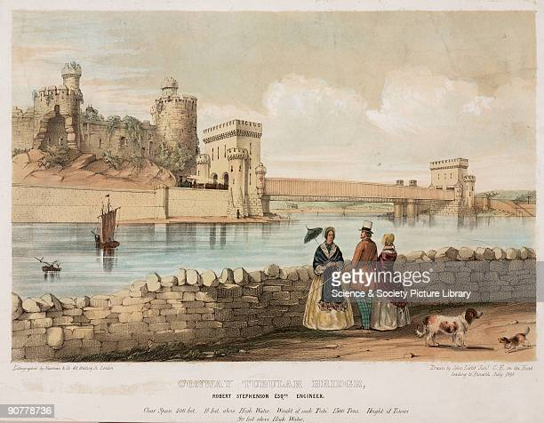 Coloured lithograph by Newman Co after a drawing by John lister Junior The Conwy Tubular Bridge which was built in 1849 was designed by Robert...