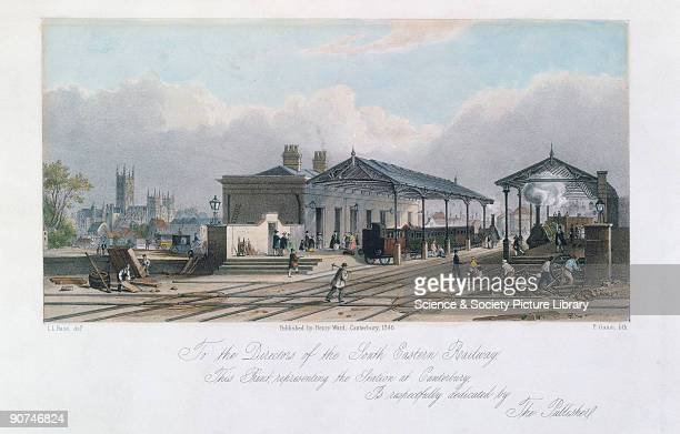 Coloured lithograph by Paul Gauci after a drawing by L L Raze of the South Eastern Railway station at Canterbury The South Eastern Railway Bill came...