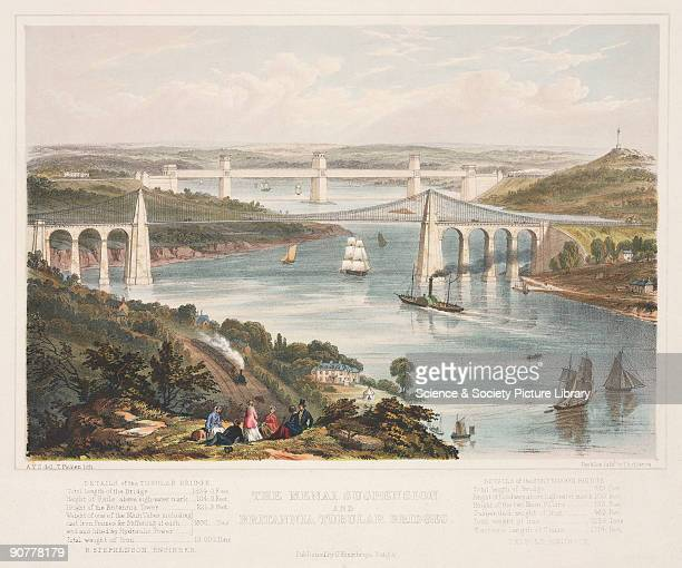 Coloured lithograph by Thomas Picken showing the two bridges built across the Menai Straits in the 19th century The nearer of the two bridges the...