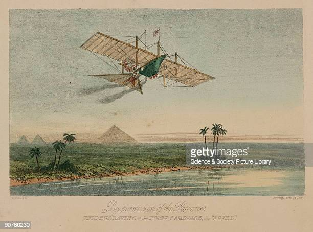 Coloured lithograph by W L Walton and published by Ackermann Company showing Henson's Aerial Steam Carriage in a fictitious flight over the Nile and...