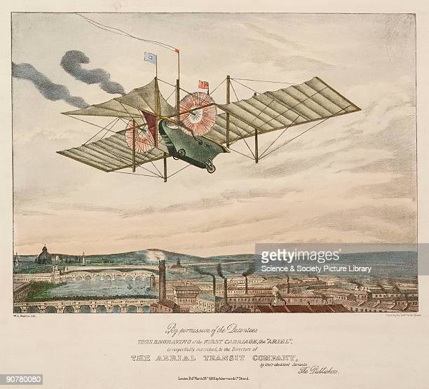 Coloured lithograph by W L Walton dedicated to the directors of the Aerial Transport Company showing the �Ariel� in flight above an industrial city...