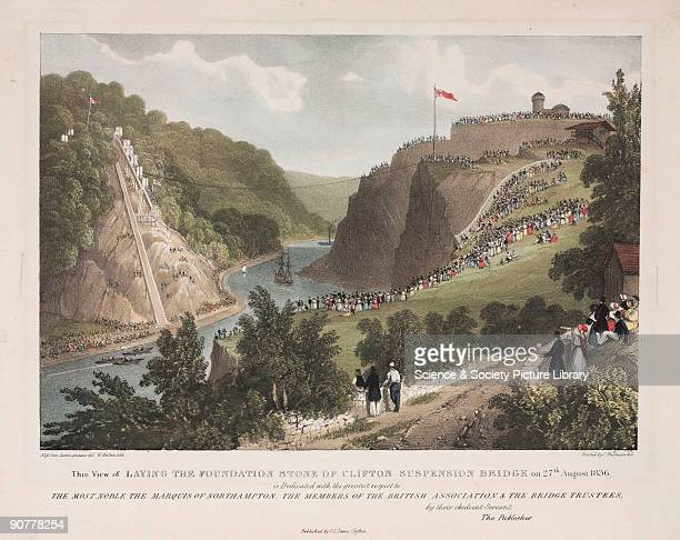 Coloured lithograph by W Walton after a drawing by Miss Gun Cunningham Isambard Kingdom Brunel designed a bridge spanning the River Avon 245 feet...