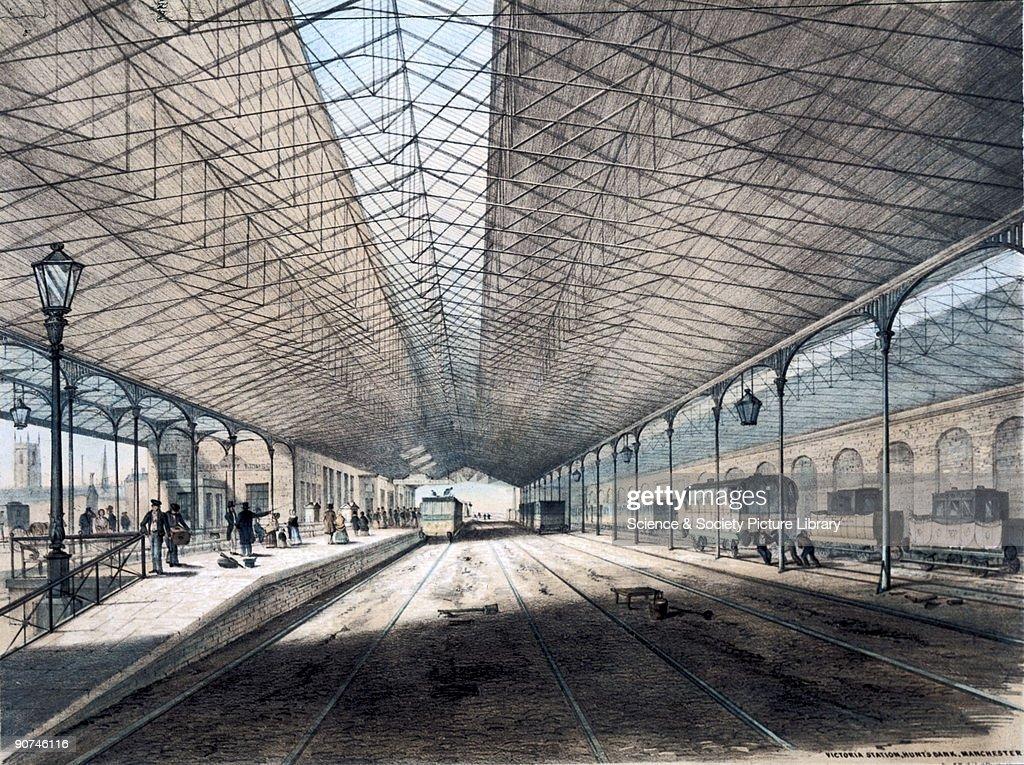 Victoria Station, Hunts Bank, Manchester, 1845. : News Photo