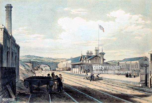 Coloured lithograph drawn and lithographed by Arthur Fitzwilliam Tait showing a view of the tracks and platforms of Brighouse Station on the...