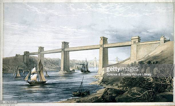 Coloured lithograph drawn and lithographed by E T Dolby The Britannia Tubular Bridge was designed by Robert Stephenson and completed in 1850 It was...