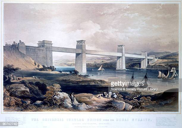 Coloured lithograph drawn and lithographed by G Hawkins The Britannia Tubular Bridge was designed by Robert Stephenson and was completed in 1850 It...
