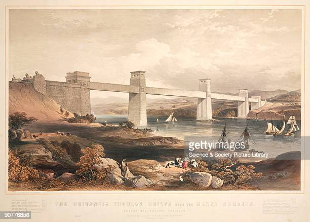 Coloured lithograph drawn and lithographed by George Hawkins showing a view of the completed of the Britannia Tubular Bridge The Britannia Tubular...