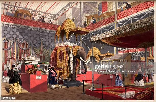A coloured lithograph of a model elephant with howdah in the Indian Court in the Crystal Palace Hyde Park London from 'Dickinsons' Comprehensive...