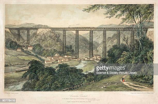 Coloured lithograph of the Crumlin Viaduct on the Taff Vale Extension of the West Midland Railway. Crumlin Viaduct was considered to be one of the...