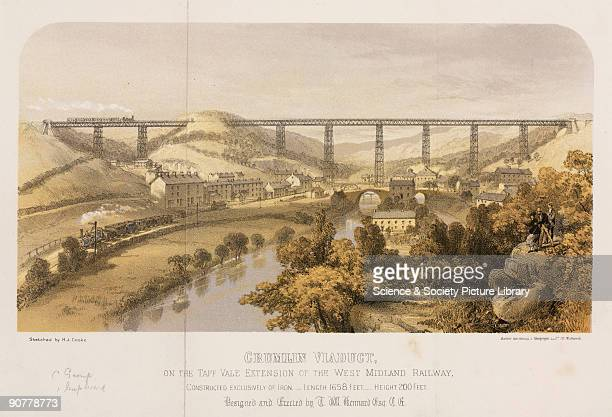 Coloured lithograph of the Crumlin Viaduct on the Taff Vale Extension of the West Midland Railway Crumlin Viaduct was considered to be one of the...